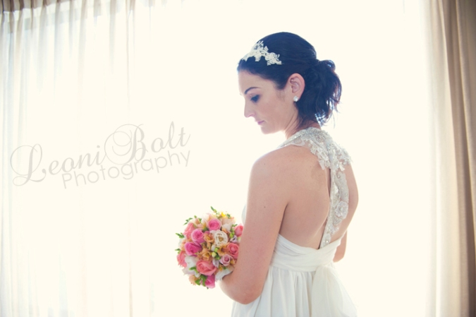 High key bride with bouquet